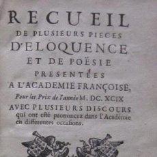 Libros antiguos: RECUEIL DES PLUSIEURS PIECES D'ELOQUENCE ET DE POESIE - AÑO 1649 . Lote 116924711