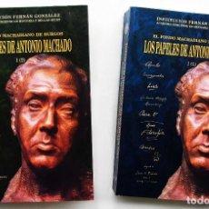 Libros antiguos: 2 TOMOS: LOS PAPELES DE ANTONIO MACHADO. 1194 PÁGINAS. BURGOS. AÑO: 2004. BUEN ESTADO.. Lote 117380487
