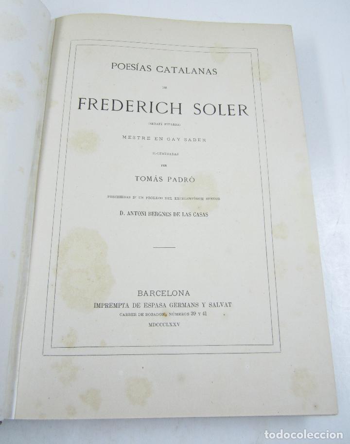 Libros antiguos: Poesias catalanas de Frederich Soler (Serafí Pitarra), ilustradas, 1875, Barcelona. 21x28,5cm - Foto 6 - 117721979