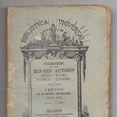 Libros antiguos: TESORO DE LA POESIA CASTELLANA SIGLO XIX. COL. B. UNIVERSAL TOMO XXII - A-PEQUEÑO-0337. Lote 128367243