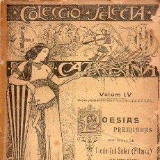 Libros antiguos: FREDERICH SOLER PITARRA : POESIAS PREMIADAS (BONAVIA, 1919) CATALÁN. Lote 128755171