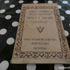 Libros antiguos: SHAKESPEARE VENUS I ADONIS ED LA REVISTA BARCELONA 1918. Lote 128974867