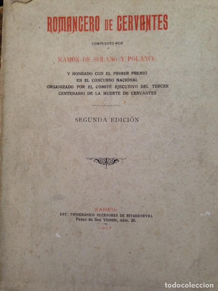 Libros antiguos: ROMANCERO DE CERVANTES. - RAMÓN DE SOLANO Y POLANCO - 1917 - Foto 3 - 129015699