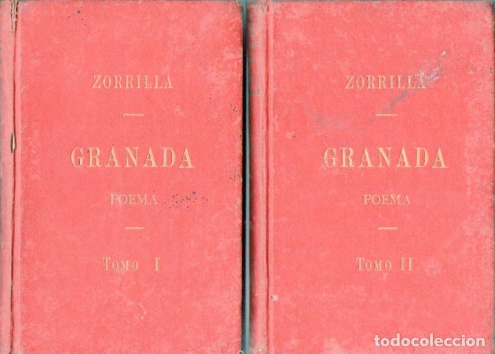 ZORRILLA : GRANADA LEYENDA DE AL HAMAR -DOS TOMOS (IMP. HUÉRFANOS, 1895) (Libros antiguos (hasta 1936), raros y curiosos - Literatura - Poesía)