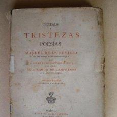 Libros antiguos: DUDAS Y TRISTEZAS. POESIAS. MANUEL DE LA REVILLA. 1882. Lote 132924434