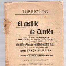 Libros antiguos: EL CASTILLO DE TURRION. TURRIONDO. LEYENDA ALAVESA LIRICO-DRAMATICA. AÑO 1907. Lote 133914777