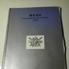 Libros antiguos: MENÚ CUADERNOS DE POESÍA Nº (7/8) CUENCA 1994 Y CARTA MANUSCRITA DE JUAN CARLOS VALERA. Lote 134309978