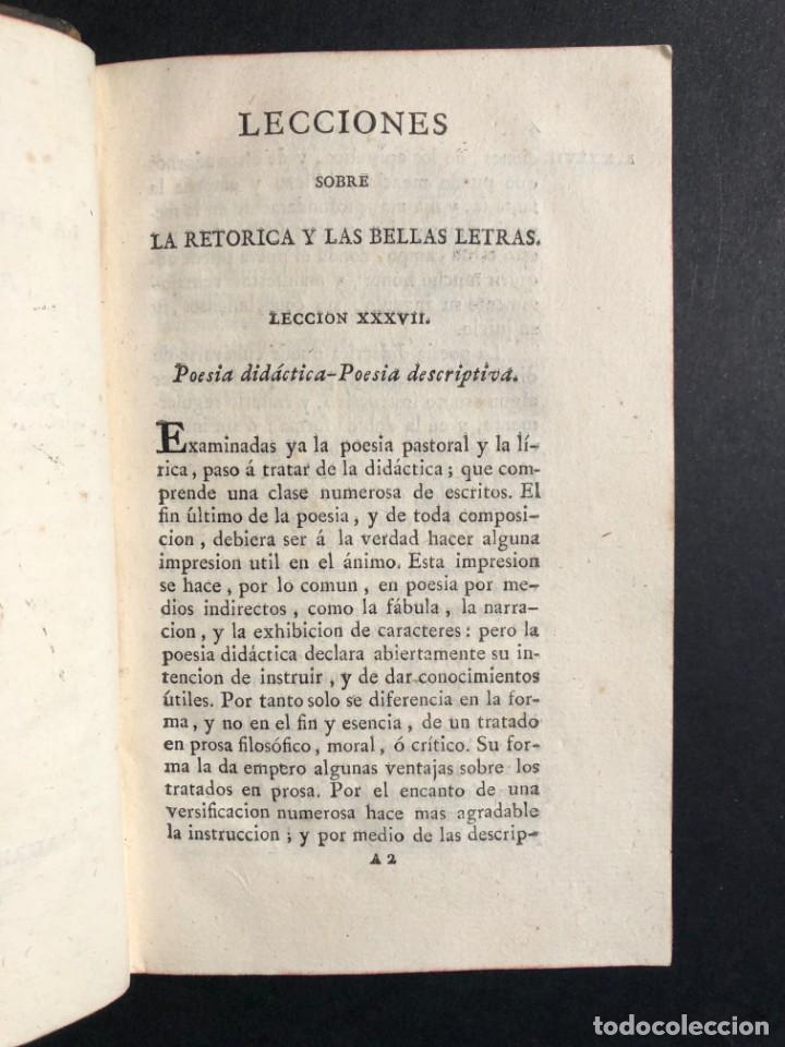Libros antiguos: 1804 LECCIONES SOBRE LA RETORICA Y LAS BELLAS LETRAS - Poesía - Foto 5 - 134339062