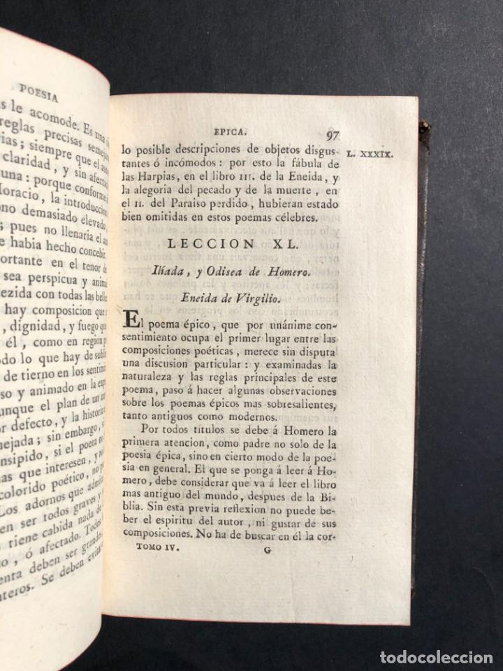 Libros antiguos: 1804 LECCIONES SOBRE LA RETORICA Y LAS BELLAS LETRAS - Poesía - Foto 8 - 134339062