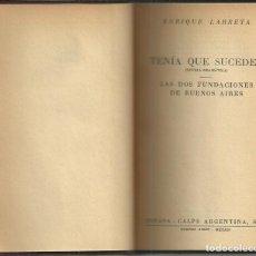 Libros antiguos: LAS DOS FUNDACIONES DE BUENOS AIRES, ENRIQUE LARRETA , BUENOS AIRES 1944, FIRMADO POR EL AUTOR. Lote 134537086