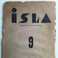 Libros antiguos: ISLA HOJAS DE ARTE Y LETRAS - CÁDIZ - POESÍA - N.9 - AÑO 1936 - EDICION ORIGINAL. Lote 137354542