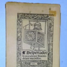 Libros antiguos: DESPERTADOR DE PECADORES, INVENTADO POR UNO DE ELLOS. FACSIMIL. Lote 138635634