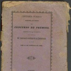 Libros antiguos: CERTÁMEN PÚBLICO.CONCURSO PREMIOS PARA SOLEMNIZAR ANIVERSARIO VEINTIUNO INSTALACIÓN. AÑO 1883(3.6). Lote 139054062