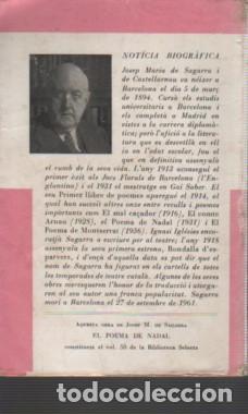 Libros antiguos: SAGARRA: El poema de Nadal seguit de El mal caçador. 1962. - Foto 2 - 140158758