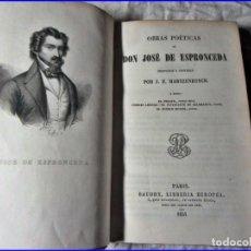 Libros antiguos: AÑO 1851 OBRAS POÉTICAS DE DON JOSÉ DE ESPRONCEDA. EN ESPAÑOL.. Lote 140853590
