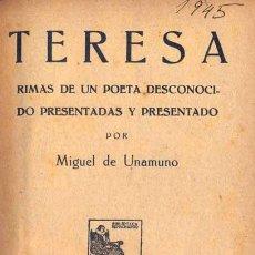 Libros antiguos: MIGUEL DE UNAMUNO - TERESA. Lote 141357310