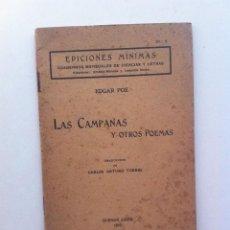 Libros antiguos: LAS CAMPANAS Y OTROS POEMAS - EDGAR POE (EDICIONES MÍNIMAS, BUENOS AIRES, 1916). Lote 143922118