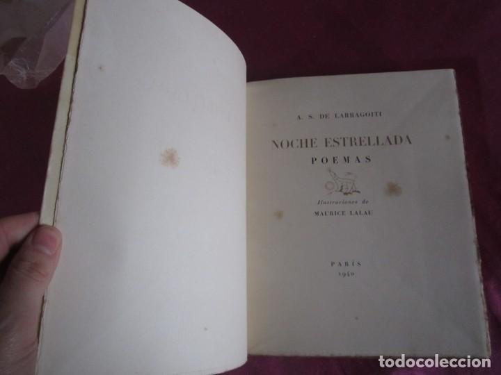 Libros antiguos: NOCHE ESTRELLADA. POEMAS. EDICION ESPECIAL DE 145 EJEMPLARES LARRAGOITI 1940. - Foto 4 - 146376094