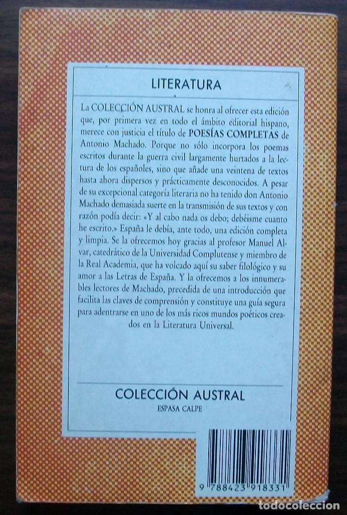 Libros antiguos: ANTONIO MACHADO. POESIAS COMPLETAS. - Foto 2 - 148047554