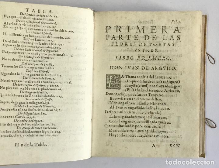 Libros antiguos: PRIMERA PARTE DE LAS FLORES DE POETAS ILUSTRES DE ESPAÑA, dividida en dos libros. Ordenada por... Di - Foto 5 - 109021994