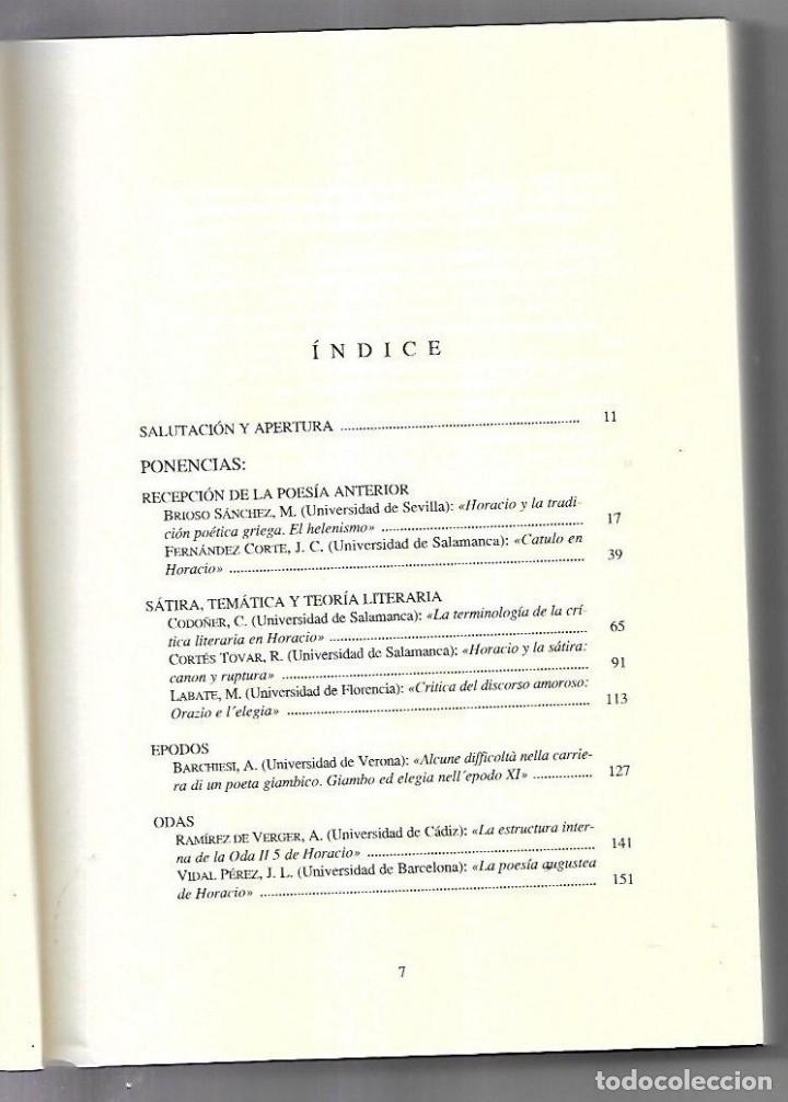 Libros antiguos: BIMILENARIO DE HORACIO. EDICIONES UNIVERSIDAD DE SALAMANCA. 1994. VARIOS AUTORES. 1º EDICION - Foto 2 - 49629537