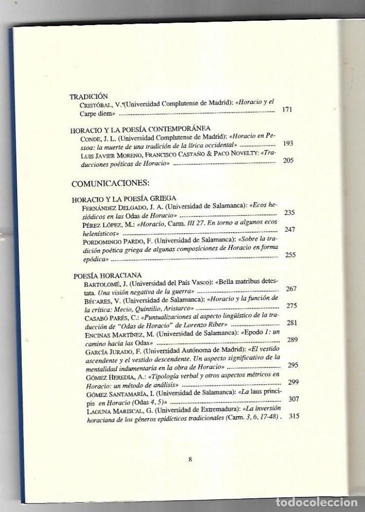 Libros antiguos: BIMILENARIO DE HORACIO. EDICIONES UNIVERSIDAD DE SALAMANCA. 1994. VARIOS AUTORES. 1º EDICION - Foto 3 - 49629537