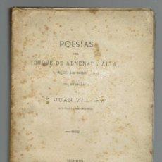 Libros antiguos: POESÍAS DEL DUQUE DE ALMENARA ALTA. AÑO 1887. (MENORCA1.1). Lote 153111886