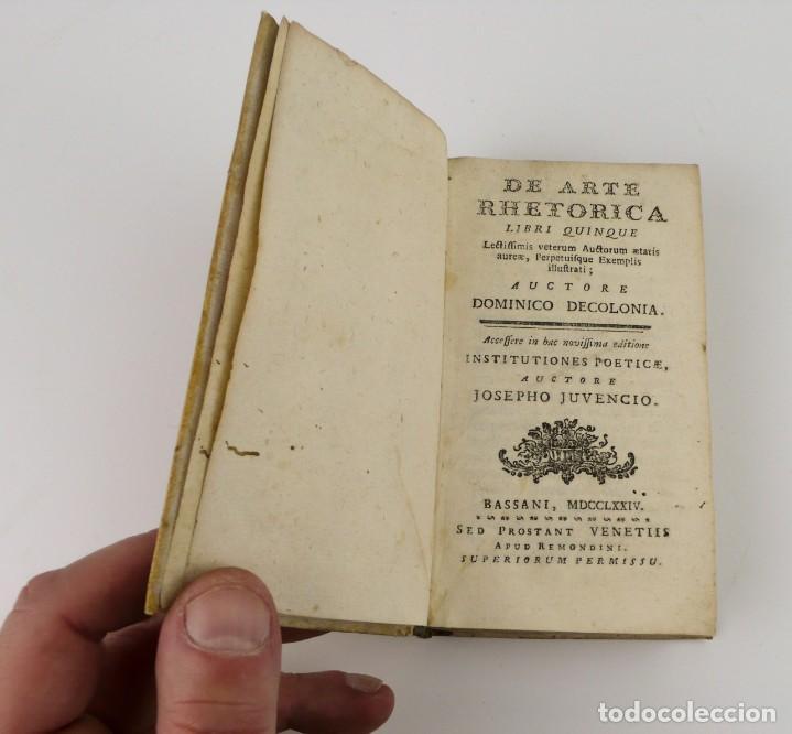 Libros antiguos: Joshepo Juvencio- De Arte Rhetorica-Libro tapas de pergamino- año 1.774 - Foto 3 - 153571278