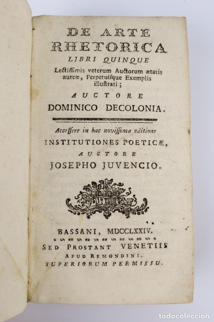 Libros antiguos: Joshepo Juvencio- De Arte Rhetorica-Libro tapas de pergamino- año 1.774 - Foto 4 - 153571278