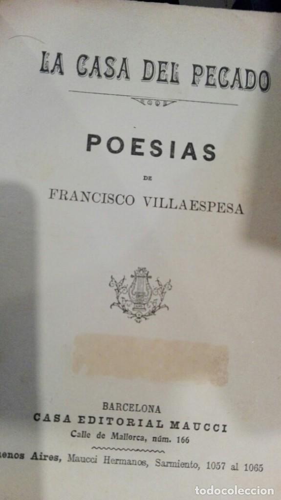 LA CASA DEL PECADO.FRANCISCO VILLAESPESA.CASA EDITORIAL MAUCCI (Libros antiguos (hasta 1936), raros y curiosos - Literatura - Poesía)