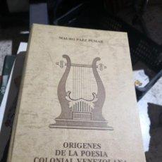 Libros antiguos: PÁEZ PUMAR, MAURO LITERATURA VENEZOLANA. POESÍA. ESTUDIOS LINGÜÍSTICOS Y LITERARIOS 1980.. Lote 160575718