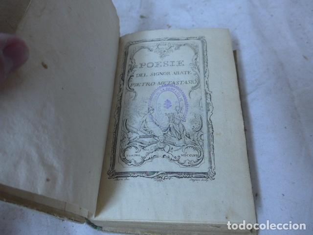 Libros antiguos: Antiguo libro de pergamino de poesia de 1757. Poesie del signor abate pietro metastasio. Original - Foto 5 - 164764222