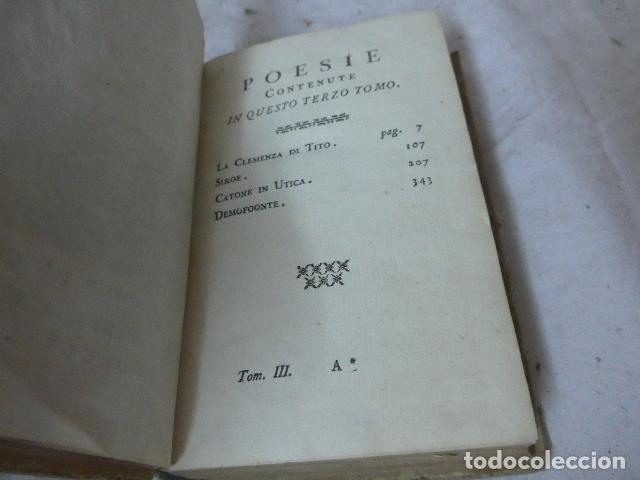 Libros antiguos: Antiguo libro de pergamino de poesia de 1757. Poesie del signor abate pietro metastasio. Original - Foto 9 - 164764222