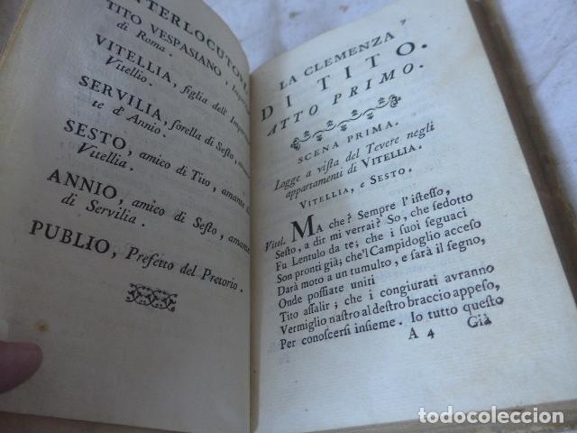 Libros antiguos: Antiguo libro de pergamino de poesia de 1757. Poesie del signor abate pietro metastasio. Original - Foto 12 - 164764222