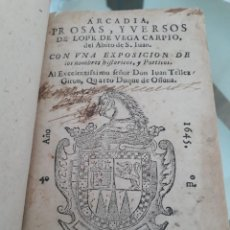 Libros antiguos: LA ARCADIA LOPE DE VEGA 1645 SIGLO DE ORO POESIA GENÉRO PASTORIL XVII. Lote 167304076