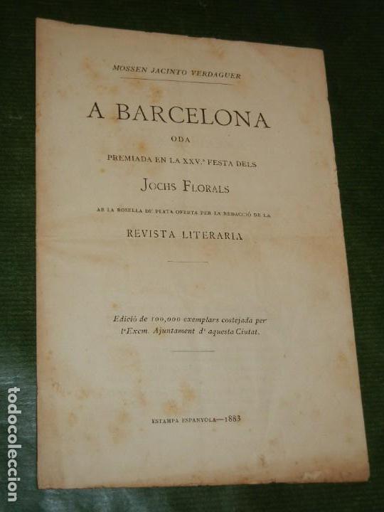 ODA A BARCELONA, MOSSEN JACINT VERDAGUER - ED.ORIGINAL AYTO.BARCELONA 1883 (Libros antiguos (hasta 1936), raros y curiosos - Literatura - Poesía)