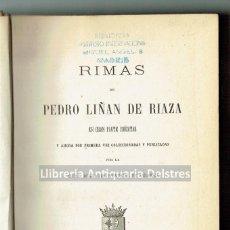 Libros antiguos: [POESÍA ARAGONESA] RIMAS DE PEDRO DE LIÑAN DE RIAZA.- POESIAS SELECTAS DE FRAY GERÓNIMO DE.... Lote 170712790