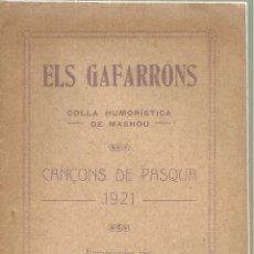 Livros antigos: 3614.- MASNOU - EL GARRAFONS COLLA HUMORISTICA DE MASNOU - CANÇONS DE PASQUA DE 1921. Lote 175397148