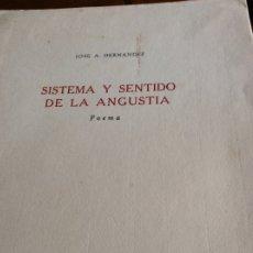 Libros antiguos: JOSÉ A.HERNANDEZ 1938 SISTEMA Y SENTIDO DE LA ANGUSTIA FIRMADO POR AUTOR A DANIEL DEVOTO.POCOS EJEMP. Lote 176085379