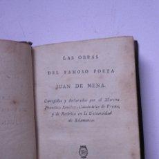 Libros antiguos: LAS OBRAS DEL FAMOSO POETA JUAN DE MENA.IMPRENTA DE REPULLÉS. MADRID 1804. Lote 176090203