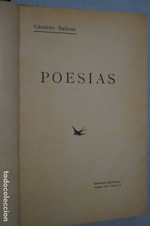 Libros antiguos: POESIAS. CÁNDIDO SALINAS. 1910 - Foto 2 - 178088158