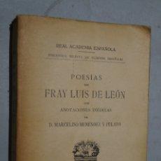 Libros antiguos: POESIAS DE FRAY LUIS DE LEÓN. 1928.. Lote 178804952