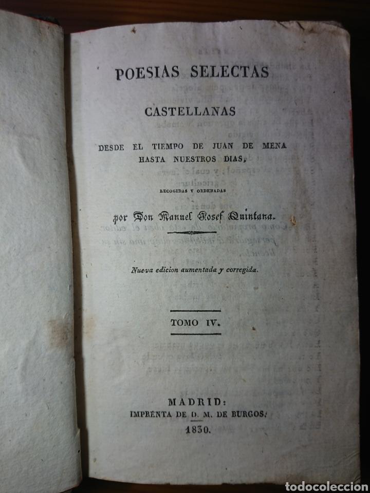 Libros antiguos: Poesias Selectas de Quintana, 1830, Tomos I, II y IV - Foto 5 - 179196212
