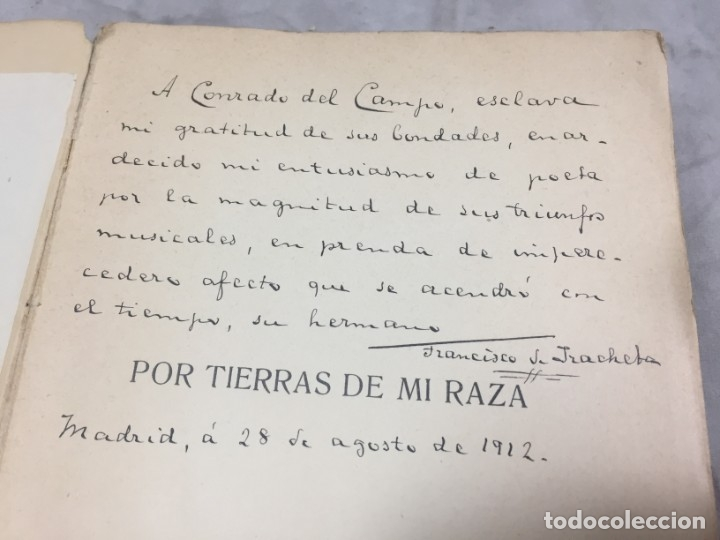 POR TIERRAS DE MI RAZA. FRANCISCO DE IRACHETA. POESÍAS. MADRID, 1912. DEDICATORIA Y FIRMA AUTOGRAFA (Libros antiguos (hasta 1936), raros y curiosos - Literatura - Poesía)