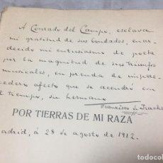 Libros antiguos: POR TIERRAS DE MI RAZA. FRANCISCO DE IRACHETA. POESÍAS. MADRID, 1912. DEDICATORIA Y FIRMA AUTOGRAFA. Lote 179211867