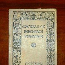 Libros antiguos: TRES GRANDES POETAS BELGAS : RODENBACH, MAETERLINCK, VERHAEREN / CON UNA CONFERENCIA DE ENRIQUE GONZ. Lote 179401702