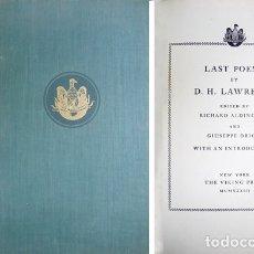 Libros antiguos: LAWRENCE, DAVID H. LAST POEMS. 1933.. Lote 180329868