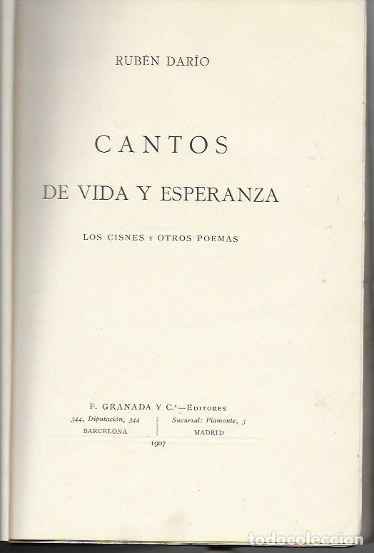 Libros antiguos: Cantos de vida y esperanza. Los cisnes y otros poemas / Ruben Darío. BCN : Granada ed, 1907. 26x18cm - Foto 2 - 182052790