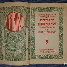 Libros antiguos: VERLAINE, PAUL: POEMAS SATURNIANOS. Lote 182325590