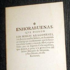 Libros antiguos: LIBRITO FACSÍMIL SIGLO XVII ENHORABUENAS NOBLES ARAGONESES A LA REINA. EDICIÓN LIMITADA NUMERADA. Lote 182906648